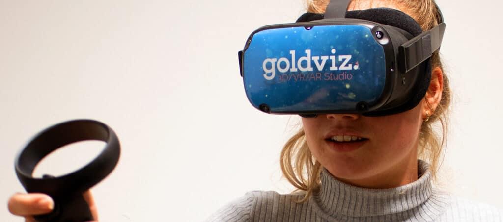 oculus quest vr bril met de goldviz sticker gemaakt met de vr bril sticker template