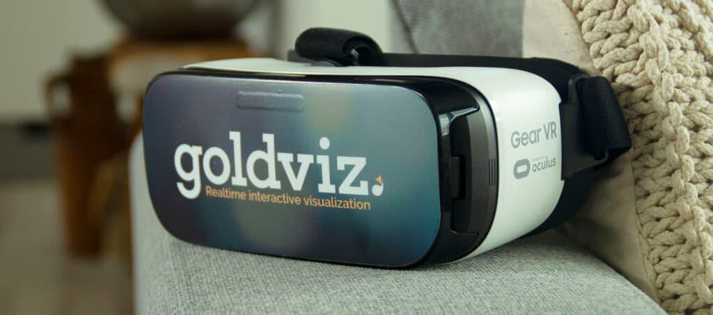 Samsung Gear VR vr bril met de Goldviz sticker gemaakt met de vr bril sticker template